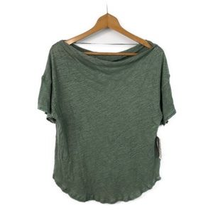 NWT Free People Sage Green Linen Blend Top Sz S